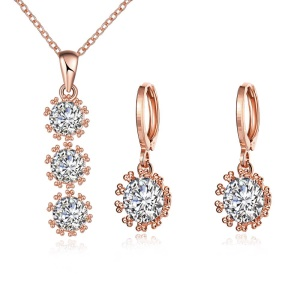 S088 Zircon Plated Pendant Necklace Earrings Fashion Jewelry Set - Rose Gold