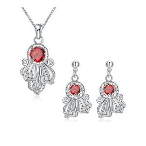 S111 Plated Pendant Necklace Drop Earrings Women's Jewelry Set - Red