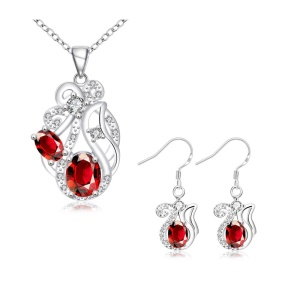 S139 Premium Stone Plated Drop Earrings Necklace Fashion Jewelry Set - Red