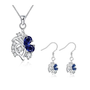 S144 Flower Pattern Plated Necklace Drop Earrings Jóias Set para Mulheres - azul