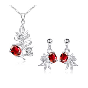 SPS147 Cute Ladies Small Goldfish Zircon Plated Necklace Earrings Jewelry Kit