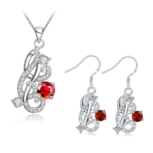 S090 Zircon Geometric Pattern Plated Pendant Necklace Dangle Earrings Jewelry Set - Red