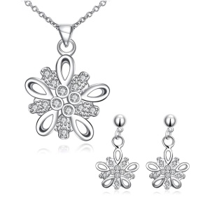 S012 Flower Pattern Silver Plated Drop Earrings Pendant Necklace Fashion Jewelry Set - Silver