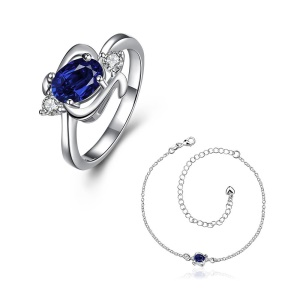 S098 Premium Stone Plated Anklet Ring Women's Jewelry Set - Blue
