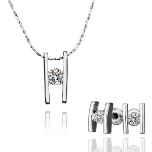 GPS192 Trendy Rhinestone H-shaped Pendant Necklace H-shaped Earrings Jewelry Set for Women