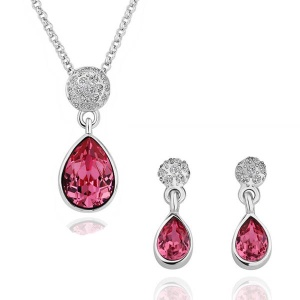 S125 Waterdrop Pattern Premium Stone Plated Necklace Drop Earrings Jewelry Set for Women - Red
