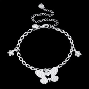 LKNSPCA165 Graceful Butterfly Pendant Silver Plated Fashionable Anklet