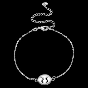 LKNSPCA194 Taurus Constellation Trendy Silver Plated Jewelry Anklet Foot Chain