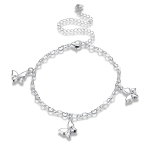 LKNSPCA108 Female Fashion Adjustable Silver Plated Butterfly Pendant Anklet Chain