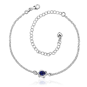 SPA007 Fancy Design Zircon Decor Silver Plated Foot Chain Female Fashion Anklet - Red