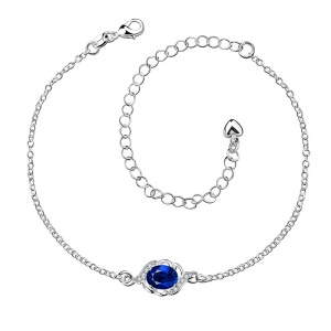 SPA004 Gorgeous Rhinestone Decor Silver Plated Adjustable Anklet Chain for Women - Blue