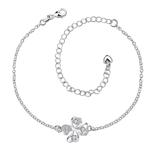 SPA010 Chic Lucky Four-leaf Clover Zircon Decor Design Foot Chain Silver Plating Anklet - Purple