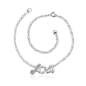 LKNSPCA001 Silver Plated Love Letter Design Romantic Female Fashion Adjustable Foot Chain Anklet