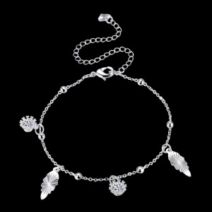 LKNSPCA075 Fancy Pendant Decor Rhinestone Silver Plated Beaded Ankle Bracelet