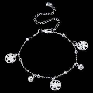 LKNSPCA099 Beaded Foot Chain Circular Tree Pendant Silver Plated Anklet with Jingle Bell
