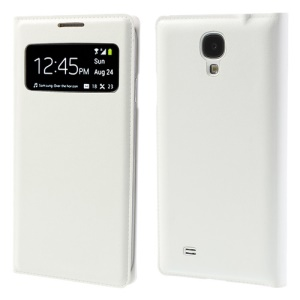 Litchi Leather Flip Window View Smart Battery Housing Cover for Samsung Galaxy S4 I9500 - White