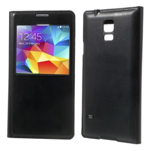 For Samsung Galaxy S5 GS 5 Caller ID View Window Leather Flip Battery Door Case - Black