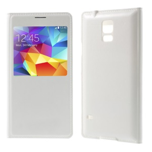 For Samsung Galaxy S5 GS 5 Caller ID View Window Leather Flip Battery Door Case - White