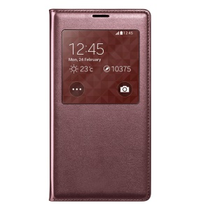 Wine Red Window View Smart Leather Flip Battery Back Cover Housing for Samsung Galaxy S5 G900