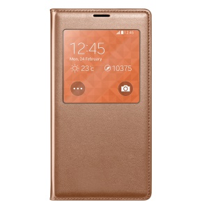 Rose Gold Window View Smart Leather Flip Battery Back Cover for Samsung Galaxy S5 G900