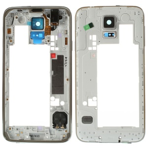 OEM Middle Plate with Side Keys Replacement for Samsung Galaxy S5 G900 - Silver