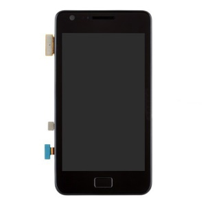 For Samsung i9100 Galaxy S2 LCD Assembly w/ Touch Screen Digitizer and Other Parts (Dock Connector Charging Port Flex + Earpiece + Sensor Flex + Vibration Motor) OEM - Black