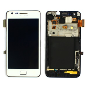 For Samsung i9100 Galaxy S2 LCD Assembly w/ Touch Screen Digitizer and Other Parts (Dock Connector Charging Port Flex + Earpiece + Sensor Flex + Vibration Motor) OEM - White