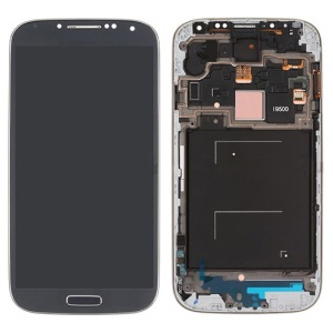 Touch Screen Digitizer LCD Assembly with Frame + Sensor Flex Cable for Samsung Galaxy S 4 IV I9500 - Dark Blue