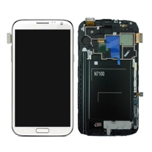 For Samsung Galaxy Note ii N7100 LCD Assembly with Touch Screen + Middle Frame + LCD Metal Plate - White (OEM)