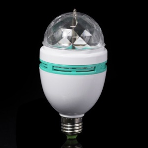 E27 3W Full Color Changing RGB LED Crystal Rotating Lamp Light Bulb