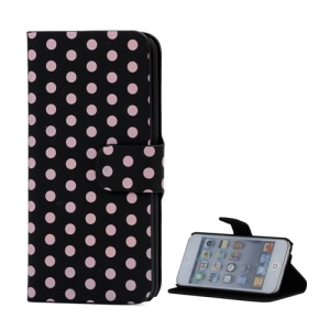 Nice Polka Dot Slim Standable Folio Leather Case for iPod Touch 5 - Pink / Black