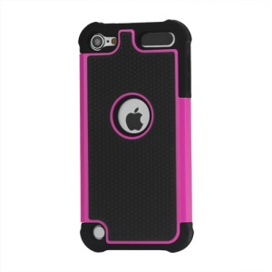 Football Grain Combo Silicone and Plastic Hard Defender Case for iPod Touch 5 - Black / Rose