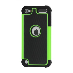 Football Grain Combo Silicone and Plastic Hard Defender Case for iPod Touch 5 - Black / Green