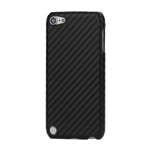 Woven Pattern Carbon Fiber Leather Coated Hard Case for iPod Touch 5 - Black