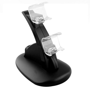 ABS Dual USB Charging Dock Station Stand for Playstation 4 PS4 Gaming Controller - Black