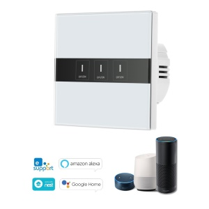Wireless Smart WiFi Switch with Touch Screen and LED Light - 3 Gang
