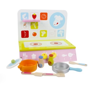 Wooden Kitchen Toys Set with Cooking Bench and Pot Children Pretend Play Game Kitchen Toys