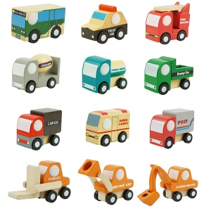 12Pcs Wooden Car Toys Mini Car Model Vehicle Set Educational Toys for Kids