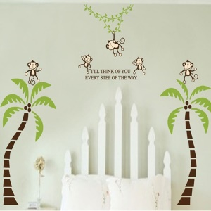 2PCS Monkey Coconut Tree Wall Stickers Art Decals Mural DIY Wallpaper for Room Decal 60 x 90cm