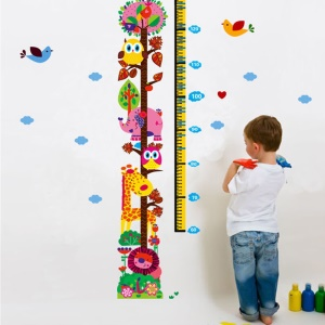 Cartoon Cute Animals Height Scale Measurement DIY Wall Wallpaper Stickers