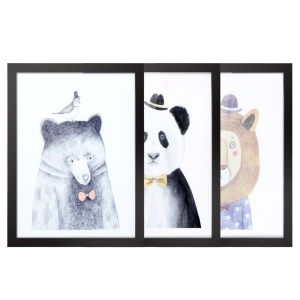 3PCS Animal Pattern Canvas Prints Removable Wall Picture Decal with Frame Room Decoration [30x40cm]