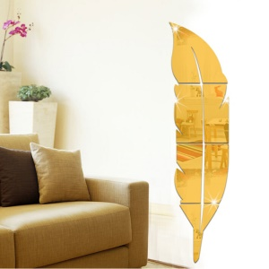 6pcs 3D Feather Removable Adhesive Mirror Wall Decal Home Decoration Art Mural Stickers - Gold
