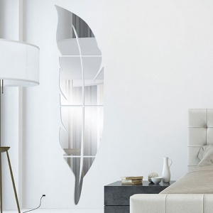 6pcs Removable Adhesive 3D Feather Mirror Wall Decal Home Decoration Art Mural Stickers - Silver