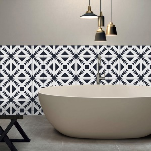 196 x 8 inches PVC Waterproof Self-adhesive 3D Black White Tile Wallpaper Home Decor - Style A