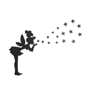Little Girl to Blow Stars Mirror Wall Sticker Living Room Bedroom Decoration Stickers - Black