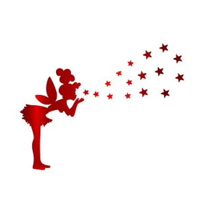Little Girl to Blow Stars Mirror Wall Sticker Living Room Bedroom Decorative Stickers - Red