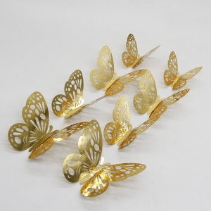 12pcs/set 3D Butterfly Wall Stickers with Glue for Bedroom Wedding Party - Gold