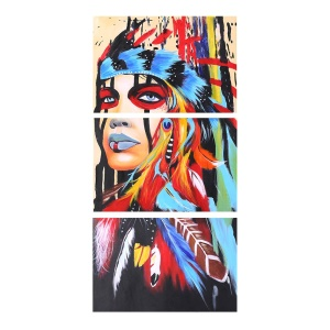 16 * 24 inches 3-Panel Unframed Waterproof Hand-Painted Oil Painting Abstract Indian Canvas Pictures Wall Art Decor for Living Room Office
