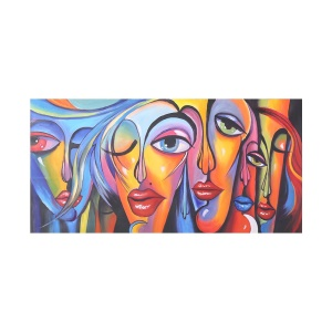 24 x 47 inches Unframed Waterproof Hand-Painted Oil Painting Abstract Woman's Face Canvas Picture for Living Room Office