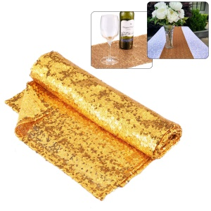 30x275cm (1x9ft) Sparkly Glitz Sequin Table Runner for Festive Celebrations Event Wedding Party - Gold